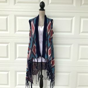 Multicolor Diamond Knit Open Long Sweater Vest